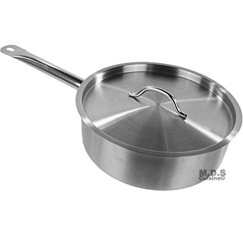 Saute Pan 4qt Commercial Stainless Steel Tri-Ply Capsule Bottom