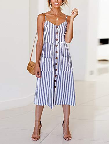 SWQZVT Women's Dress Summer Spaghetti Strap Sundress Casual Floral Midi Backless Button Up Swing Dresses with Pockets Blue Striped 2XL (Bohemian Sundress Dress)