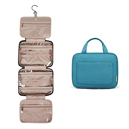 BAGSMART Toiletry Bag Travel Bag with hanging hook, Water-resistant Makeup Cosmetic Bag Travel Organizer for Accessories, Shampoo, Full Sized Container, Toiletries, Teal