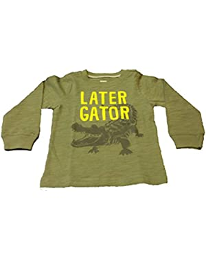 Baby Boy Long Sleeve Later Gator Graphic Tee (Olive)
