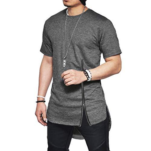 Men's Short Sleeves Cotton Blouse Side Split T-Shirt Summer New Chest Zipper Top Dark - Side Lowrider Tie