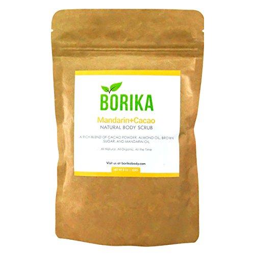 Borika Body Organic Mandarin + Cacao Body Scrub Full Size- Body & Face, Cellulite, Stretch Marks, 100% Natural, Exfoliating, Almond Oil, Cacao, Brown Sugar, Mandarin Oil, Sugar Scrub- 8 oz ()