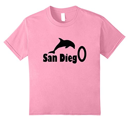 unisex-child San Diego, CA Tshirt with Dolphin 10 Pink - Dolphins Of The Ca