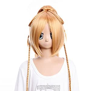 SureWells Long golden colour and cool style wig of Final Fantasy liko cosplay wig