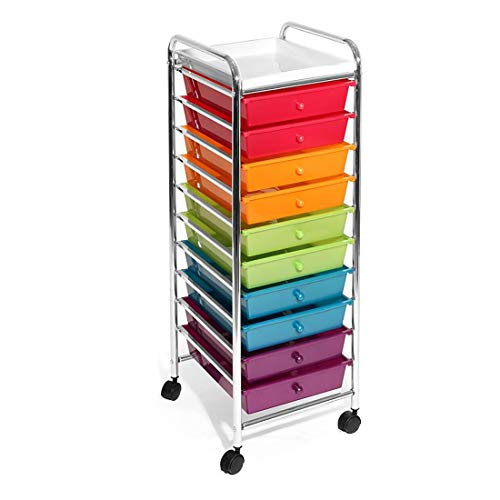 Seville Classics 10-Drawer Organizer Cart, Pearlescent Multi-Color, Multicolor -