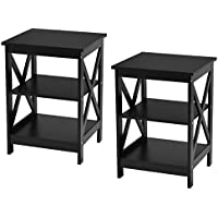 Giantex 3-Tier X-Design Nightstand Organizer End Table Storage Display Shelf Living Room Furniture (2, Black)