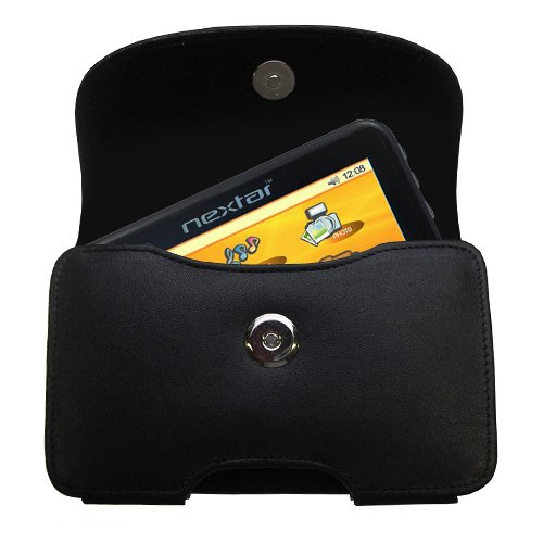 Gomadic Brand Horizontal Black Leather Carrying Case for the Nextar K40 with Integrated Belt Loop and Optional Belt Clip