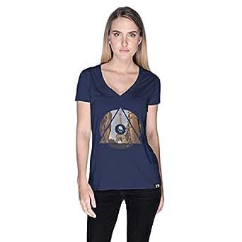 Creo Paris T-Shirt For Women - L, Navy Blue