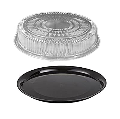 "Durable Packaging 12"" Black Round Flat Disposable Catering Party Tray Food Platter +Clear Dome Lid (pack of 5)"