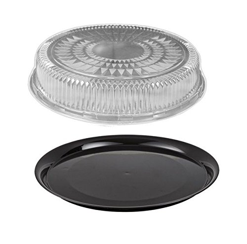 Durable Packaging 12'' Black Round Flat Disposable Catering Party Tray Food Platter +Clear Dome Lid (pack of 5)