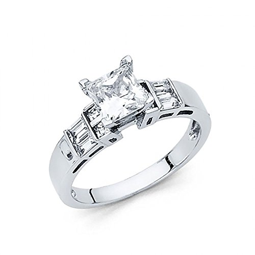 14k White Gold Princess Cut CZ Channel Set Baguette Engagement Ring
