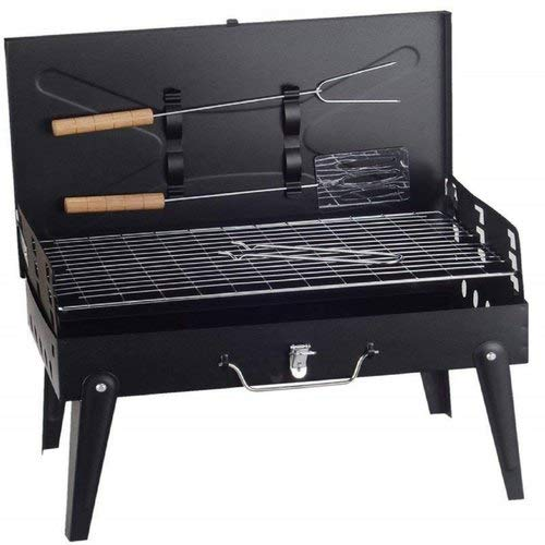 SHE Shree Hari enterprise's Briefcase Foldable Portable & Picnic Barbeque with 2 Skewers,1 Iron Grill & 1 Packet of Charcoal, Black (Make in India)