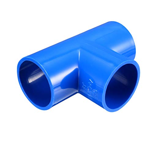 (uxcell 40mm Slip Tee PVC Pipe Fitting T-Shaped Coupling Connector Blue 3 Pcs)