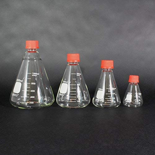 Erlenmeyer Flask with Screw Cap, 1000 mL, Graduated Borosilicate 3.3 Glass, Class B