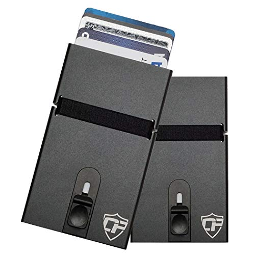 Card Blocr Minimalist Wallets Metal Credit Card Holder Slim RFID Blocking Credit Card Wallet (Black Top Trigger)