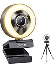 2021 JIGA 1080P Webcam with Microphone and Ring Light, Web Camera Plug and Play Streaming Webcam HD USB Advanced Auto-Focus Adjustable Brightness Privacy Protection for PC Desktop, Laptop, Mac, Gaming