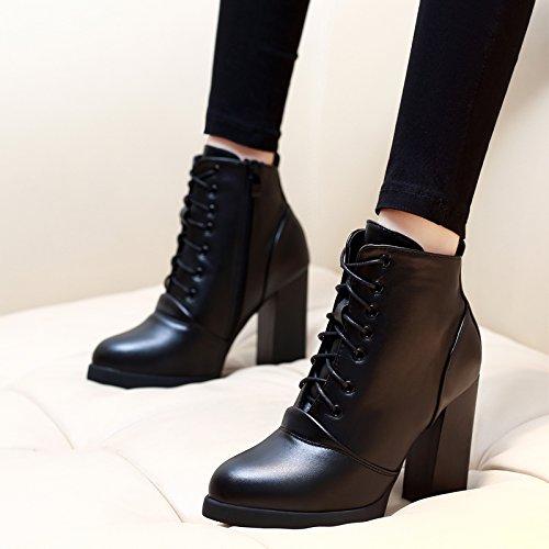 KHSKX-En Invierno El Coreano Señaló Encaje Zapatos De Tacon Alto Grueso Tacón Martin Botas Plataforma De Fondo Grueso Impermeable Botas Cortas Las Mujeres black