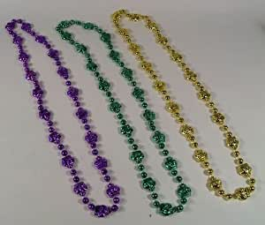 38 INCH METALLIC CROWN MARDI GRAS BEAD (DOZEN)