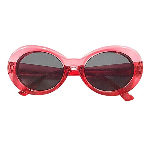 Forthery Clout Goggles Oval Sunglasses Vintage Mod Style Retro Kurt Cobain Cateye (D) ()