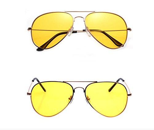 Sniper Gold Package - Unisex Classic Aviator Night Vision HD Glasses for Driving Metal Frame Stylish Sun Glasses Men Women Goggles (Yellow lens+Gold)