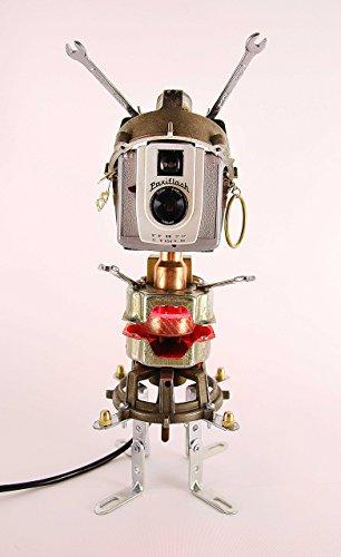 (Robot sculpture, Found Object Robot, night light, robot art, lamp, Assemblage art sculpture, Recycled Materials, Steampunk lamp, camera lamp)