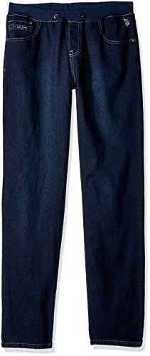 U.S. Polo Assn. Big Boys' Straight Leg Denim Jean, Drawstring Waist Dark Crinkle, 18