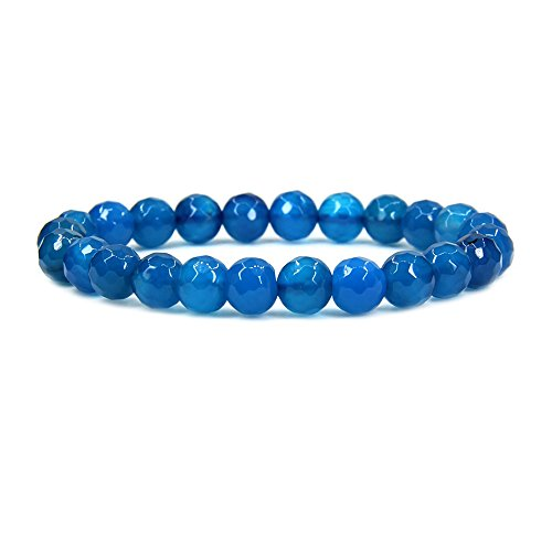 (Natural Faceted Blue Agate Gemstone 8mm Round Beads Stretch Bracelet 7