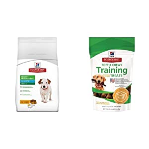 Hill's Science Diet Puppy Healthy Development Small Bites with Chicken Meal & Barley Dry Dog Food (4.5 pound bag) and Chicken Training Treats for Dogs (3 ounce bag)