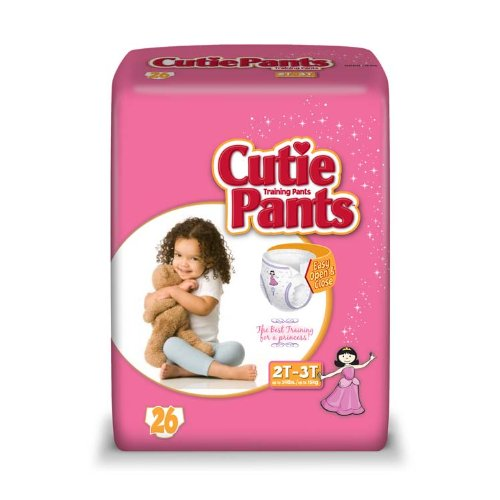 Cuties Toddler Training Pants for Girls, Size 2T-3T, 26-Count, Pack of 4