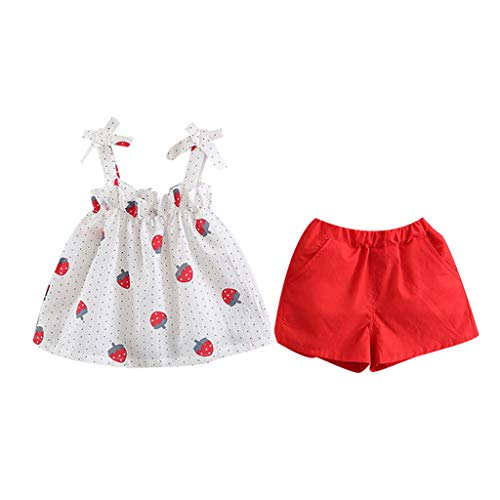 Clothful ? for 0-3Years Old, Children's Sleeveless Strap Strawberry Print Top + Solid Color Shorts Two-Piece Set. (2-3 Years Old, White)