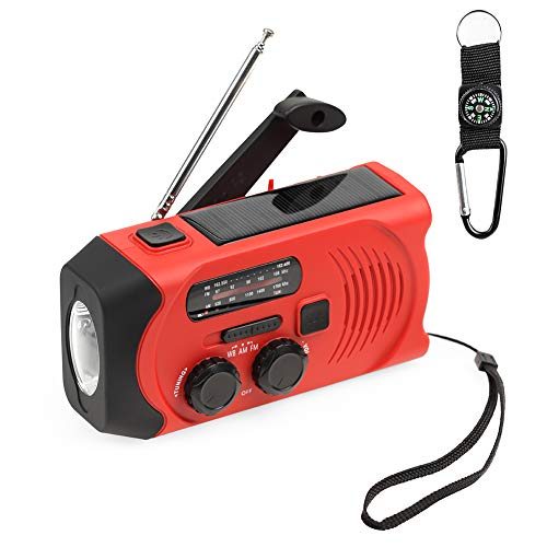 EJEAS Emergency Weather Solar Crank AM/FM NOAA Radio with SOS Alert Portable 2000mAh Power Bank Weather Radio Hand Crank Flashlight with Compass Lanyard for Household Emergency and Outdoor Survival