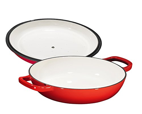 Enameled Cast Iron Casserole Braiser - Pan with Cover, 3.8-Quart, Gradient Red by Bruntmor (Image #4)