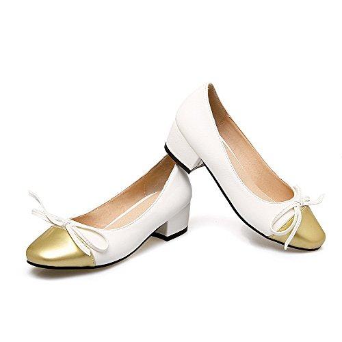 Damen Ziehen auf PU Quadratisch Zehe Niedriger Absatz Rein Pumps Schuhe, Grau, 36 VogueZone009