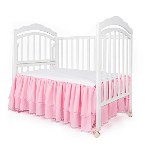 Infant Crib Skirt - Pink Ruffle Crib Skirt with Lace Trim Nursery Crib Bed Skirt for Baby Boys and Girls 52 by 28 by 15 inches