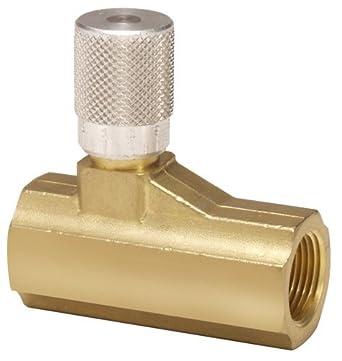 """Parker 003371004 337 Series Brass Micrometer Flow Control Valve, 3/4"""" NPTF Port, 250 psi, Fine Adjustment, 140 scfm"""