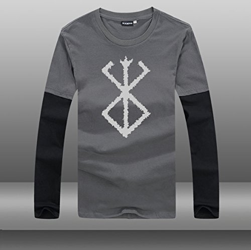 ベルセルク・マーク フェイクレイヤード トレーナースウェット Tシャツ 長袖 クルーネックプルオーバー カジュアル 重ね着スタイル (XL, グレー02)