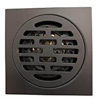 GODECOR 4 inch Bathroom Square Shower Drain with Removable Cover, Bathroom and Kitchen Floor Drain Strainer Made of Stainless Steel + Brass, Gravity Spring Anti-clogging Design- Matte Black- YL00021-1