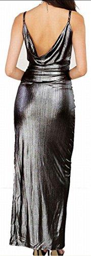 Straps Sexy Spaghetti Bodycon Jaycargogo Dress Silver Womens Split Nightclub 1EZqERwx