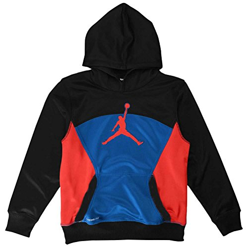Boys Youth Nike Air Jordan Therma-Fit Hoodie (S (8-10 Years), Black/Sport Blue/Hyper Orange)