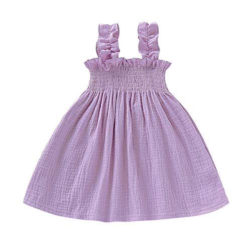 Toddler Baby Girls Summer Cotton Lace Sleeve Princess Overall Dress Backless Sundress (Purple, 4-5 T)