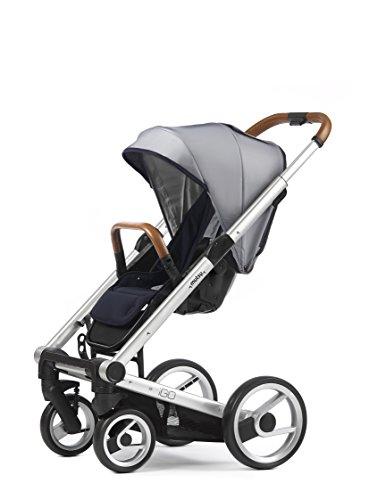 Mutsy Igo Urban Nomad Stroller, Silver Chassis, White/Blue (Igo Adapter)