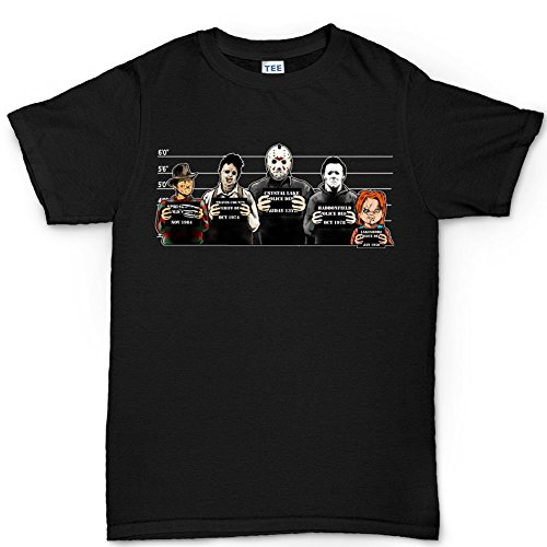 Mens The Usual Horror Suspects Halloween T Shirt XL Black (Horror Movies Costumes)