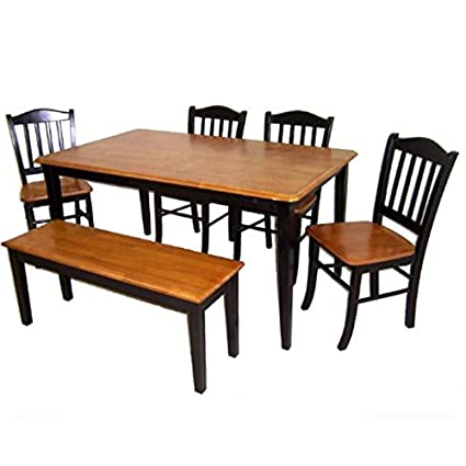 Boraam 86536 Shaker 6 Piece Dining Room Set, Black/Cherry