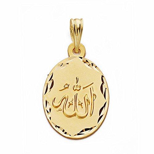 Médaille pendentif 18k 22mm or Dieu est grand. ovale [AA2558]