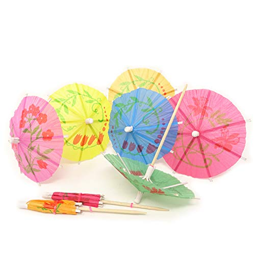 (Honbay 144PCS Assorted Colors Paper Parasol Umbrella Cocktail Picks Cupcake Toppers for Hawaiian Party, Summer Beach or Pool Party, Birthday Party, Bars, Restaurants and)