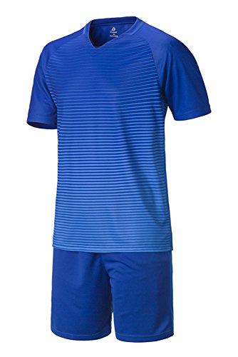 飛ぶ敏感な一過性KINDOYO メンズ 子供 男の子 男性 半袖 通気 ストライプ サッカー服 セット シャツ ショットパンツ スポーツ 運動 ブルー 26 身長:140cm