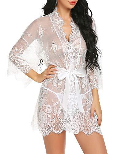 Gladiolus Women Lace Kimono Robe Babydoll Lingerie Sexy Mesh Nightwear Chemise White ()