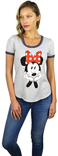 Disney Womens Mickey and Minnie Mouse Burnout Ringer Tee (Large, Red (Ladies Ringer T-shirt)