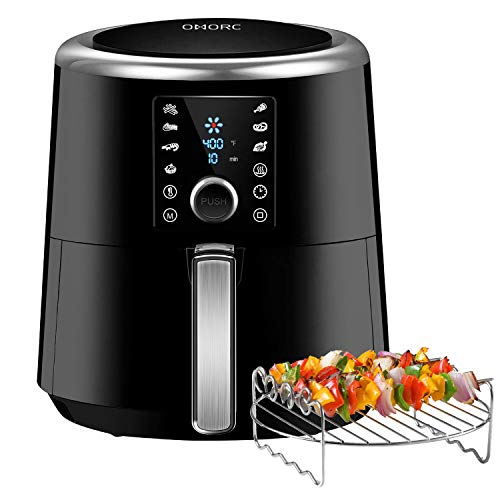 OMORC Air Fryer, 6 Quart XXL 1800W Fast Hot Air Fryers & Oilless Cooker w/Presets, LED Touchscreen (for Wet Finger)Grill/Roast/Bake/Keep Warm Suitable for Dishwasher Nonstick (Come with COOKBOOK)