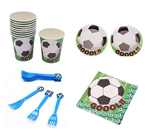 Astra Gourmet Soccer Party Supplies - Serves 20 - Includes Plates, Forks, Cups and Napkins. Perfect Soccer Birthday Party Pack for Kids Soccer Themed Parties ()